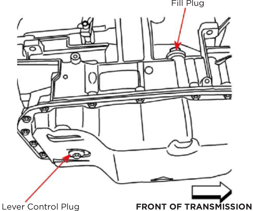 Install Guide 6l80 6l90 Gm Automatic Transmission Ete 2010 Camaro Steering Column Wiring Diagram Transmissions Do Not Typically Use A Dipstick Proper Fluid Level Is Achieved When Begins To Drip From The Control Plug Opening